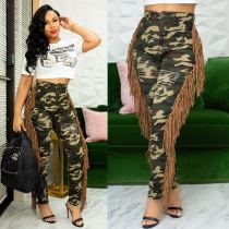Camo Print Tassel Ripped Holes Leggings Skinny Pants CM-613