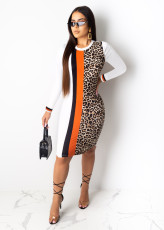 Leopard Print Long Sleeve Knee Length Bodycon Dress PIN-8435