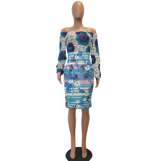 Sexy Off Shoulder Long Sleeve Printed Dresses TEN-3282