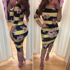 Sexy Stripe Printed Long Sleeves Bodycon Dresses LM-8089