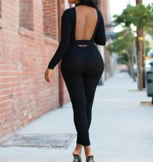 Sexy Backless Long Sleeves Sashes Skinny Jumpsuits HM-6159