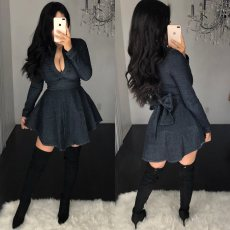 Black High Waist Bow Knot Back Denim Mini Dresses YIS-930