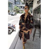 Camouflage Print Turndown Collar Casual Shirt Dresses FST-7054