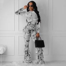Newspaper Print Long Sleeve Boot Cut Pants FST-7055