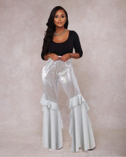 Trendy Sequin Patchwork Boot Cut Pants NIK-063