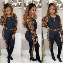 Leopard Print Patchwork Casual Two Piece Sets MA-265