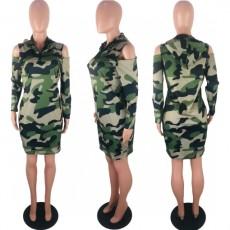 Camo Print Cold Shoulder Long Sleeve Mini Dress KSN-5078