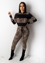 Leopard Print Patchwork Hooded Two Piece Sets PIN-8460