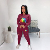 Lips Print Hooded Two Piece Tracksuit Sets NM-8068