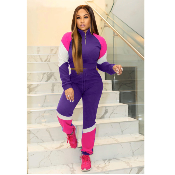 Plus Size Casual Patchwork Sports Two Piece Sets WZ-8234