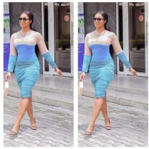 Trendy Patchwork Long Sleeve Knee Length Dresses ARM-8141