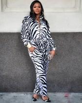 Black White Stripe Long Sleeve Zipper Jumpsuits MK-2040