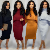 Solid Turtleneck Sweater Midi Dress Two Piece Sets PN-6273