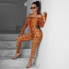 Sexy Printed Off Shoulder Long Sleeve Skinny Jumpsuits YD-8133
