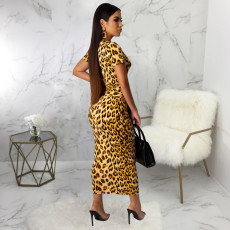 Leopard Print Short Sleeve Long Maxi Dresses SMR-9437