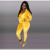 Solid Velvet Hooded Zipper Two Piece Pants Sets KSN-5087