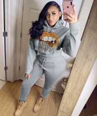 Women Hot Drilling Hooded Tracksuits Two Pieces Sets LQ-5117