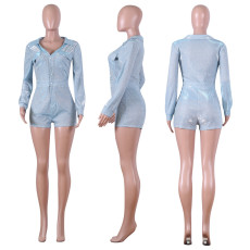 Shiny V Neck Long Sleeve One Piece Rompers NIK-075