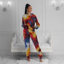 Plus Size Tie Dye Print Hoodies Tracksuit 2 Piece Sets CYAO-8511