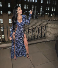 Leopard Print Lace Up Hollow Out Sexy Maxi Dresses MIL-068