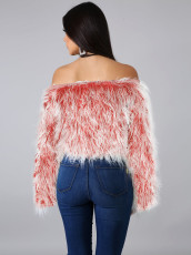 Sexy Off Shoulder Long Sleeve Faux Fur Tops ZS-0250