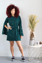 Solid Hooded Long Sleeve Casual Mini Dress OY-6073