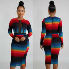 Sexy Mesh Patchwork Long Sleeve Bodycon Midi Dress OSM-4082