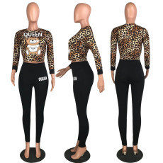 Leopard Print Bear Print Two Piece Pant Sets MYP-8897