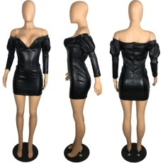 PU Leather Off Shoulder Black Bodycon Mini Dress PIN-8464