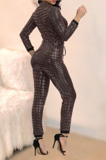 Trendy Shiny Zipper Long Sleeve One Piece Jumpsuits MA-176
