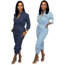 Casual Denim Zipper Long Sleeve Jeans Jumpsuits MA-284