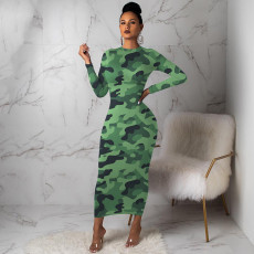 Sexy Camouflage Print Long Sleeve Maxi Dress FSL-058