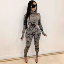 Sexy Letter Print Bodysuit And Pants 2 Piece Sets AWN-5065