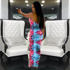 Sexy Printed Halter Backless Long Maxi Dress RM-6256