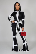 Contrast Color Long Sleeve Flare Pant Two Piece Sets FSL-064