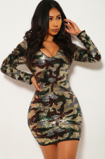 Sexy Camoflage Seuqin V Neck Mini Bodycon Dress YM-9185