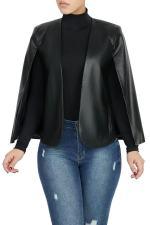 PU Leather Cloak Sleeves Black Jacket Coat OD-8330