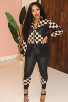 Plaid Print Zipper Jacket Long Pants Two Piece Sets PIN-8477