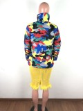 Plus Size Camo Print Zipper Winter Parka Down Jacket OSM-4548