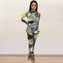 Tie Dye Print High Collar Long Sleeve 2 Piece Sets FST-7060