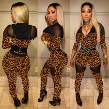 Leopard Mesh Patchwork Hooded Skinny Jumpsuits SMD-7028