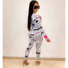 Newspaper Print Long Sleeves One Piece Jumpsuits OSM-4090