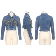 Casual Long Sleeves Short Denim Jacket Coat SMR-9526
