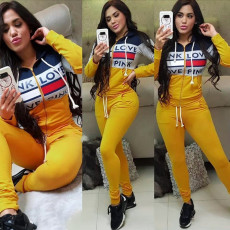 Letter Printed Hooded Zipper Two Piece Sets FNN-8354