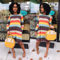 Rainbow Stripe Long Sleeve Casual Mini Dresses MK-2053