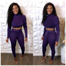 Sexy Turtleneck Crop Top And Pants Two Piece Sets YM-9192