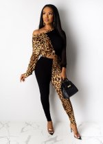 Leopard Print Patchwork Two Piece Pants Set LDS-3199