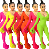 Sexy Ruffles Sleeve Bodycon One Piece Jumpsuits YH-5101