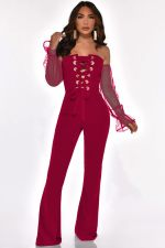 Sexy Off Shoulder Lace Up Long Sleeve Jumpsuits YMT-6127
