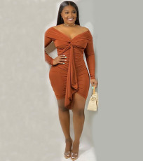 Sexy Off Shoulder Long Sleeve Bodycon Dress YM-9193